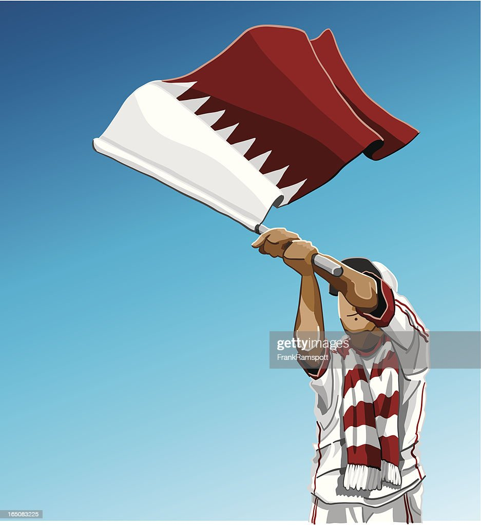 Qatar Waving Flag Soccer Fan : stock illustration