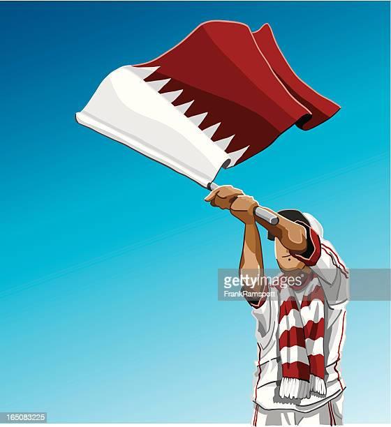 ilustrações, clipart, desenhos animados e ícones de acenando a bandeira do qatar fã de futebol - qatar