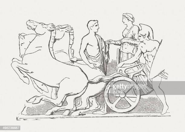 quadriga, parthenon frieze, acropolis, athens, wood engraving, published 1881 - athens georgia stock illustrations, clip art, cartoons, & icons