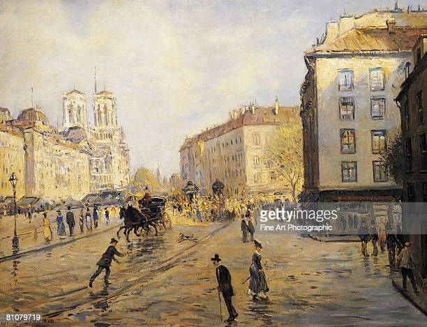 quai des grands augustins, paris, france - large group of people stock illustrations