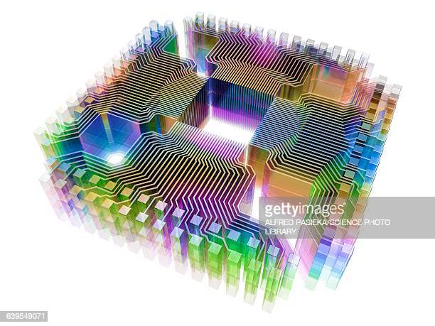 quantum computer, electronic circuitry - computer chip stock illustrations