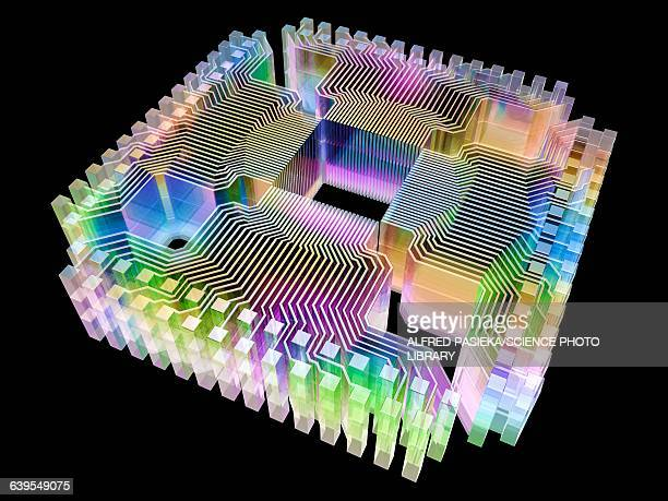quantum computer, electronic circuitry - black background stock illustrations