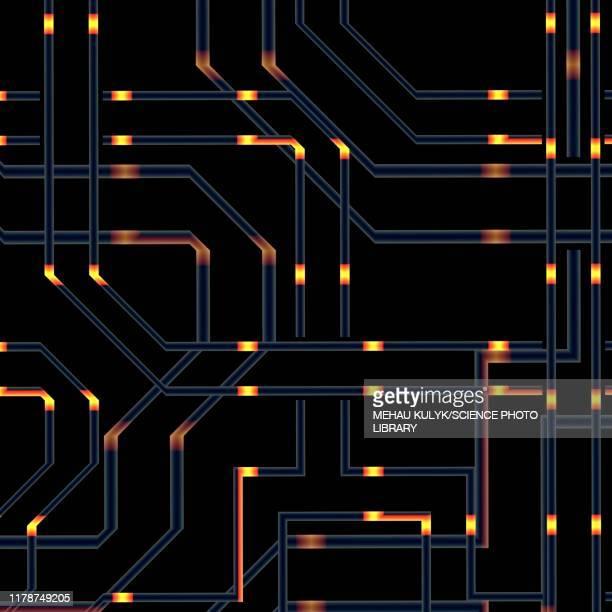 quantum computing, illustration - deep learning stock illustrations
