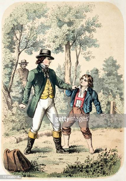 quarrel between an adult and a boy - family fighting cartoon stock illustrations