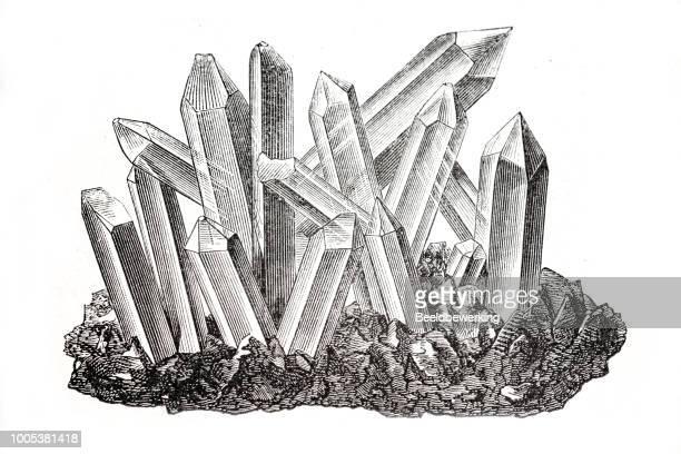 quartz cristal - quartz stock illustrations
