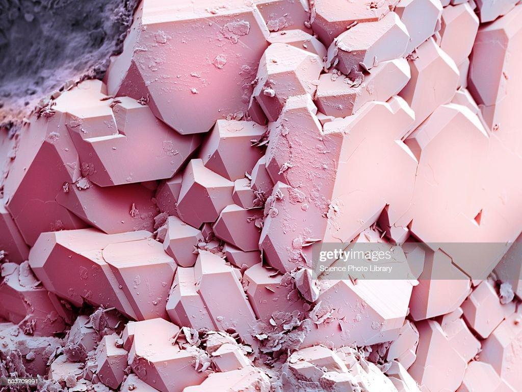 Quartz crystals, SEM : stock illustration