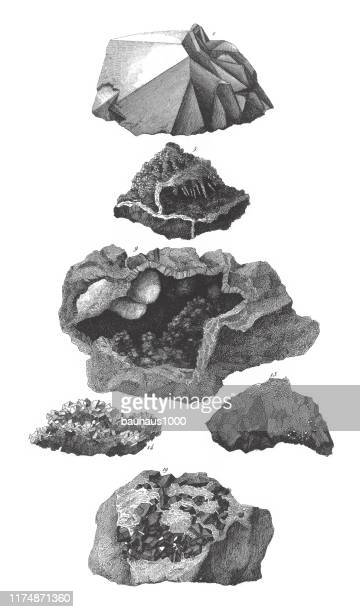 quartz, fibrous brown hematite, asbestos, stilbite, tin ore in granite, minerals and their crystalline forms engraving antique illustration, published 1851 - granite rock stock illustrations, clip art, cartoons, & icons