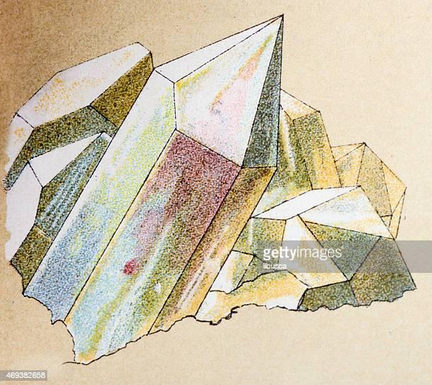 Quartz, mineral stone antique illustration