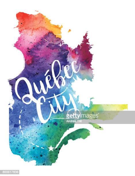 Quebec City, Quebec, Canada USA Watercolor Map