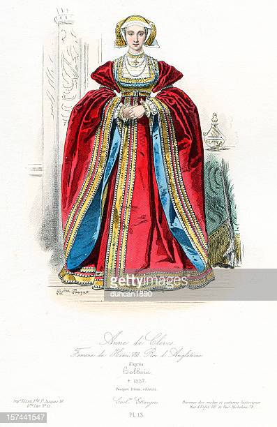 queen anne of cleves - tudor stock illustrations