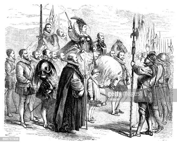queen elisabeth on the way to the new stock exchange, london, england - tudor stock illustrations