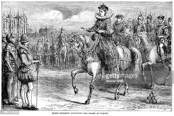 illustrations, cliparts, dessins animés et icônes de queen elisabeth i at tilbury - guerre