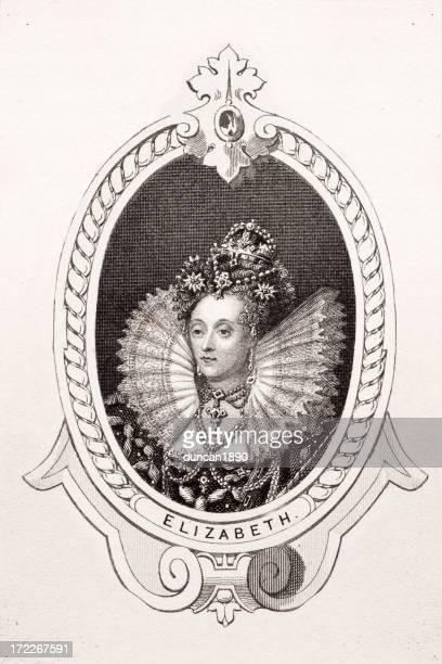 queen elizabeth i - 16th century stock illustrations