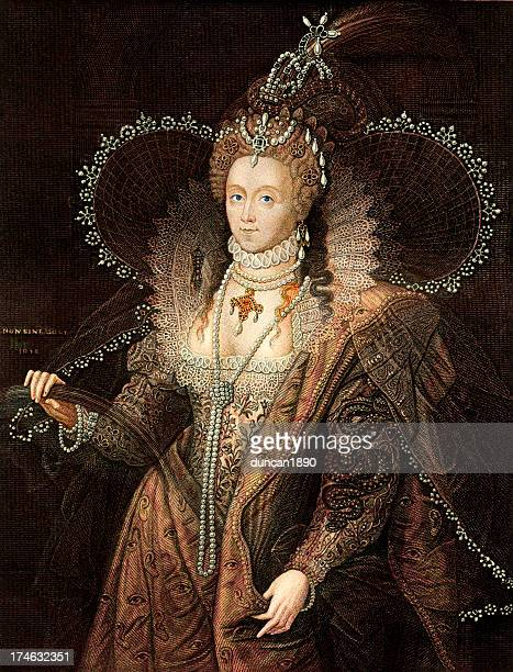 queen elizabeth i - medieval queen crown stock illustrations