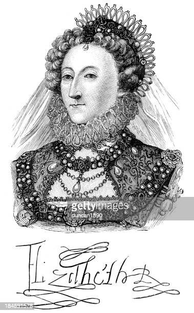 queen elizabeth i - 16th century style stock illustrations, clip art, cartoons, & icons