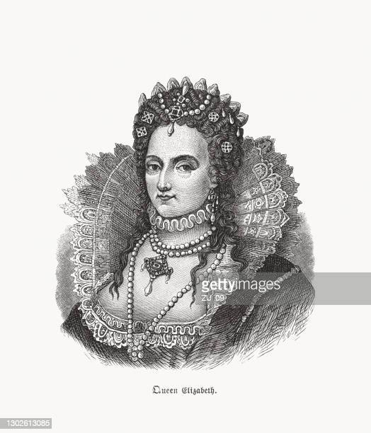 queen elizabeth i of england and ireland (1533-1603), woodcut, 1893 - british culture stock illustrations