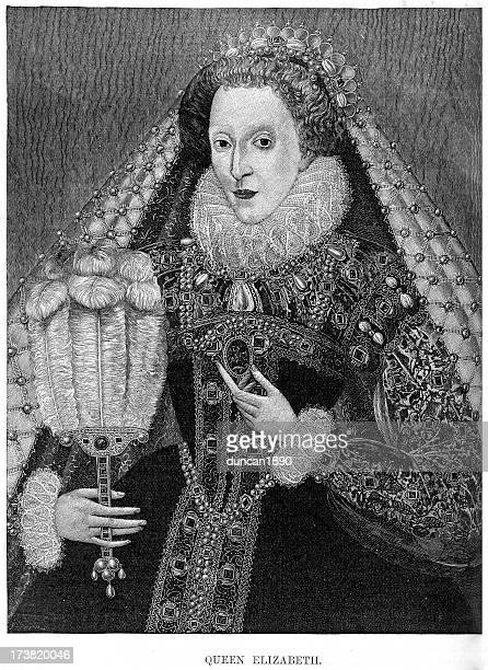 queen elizabeth i of england - medieval queen crown stock illustrations