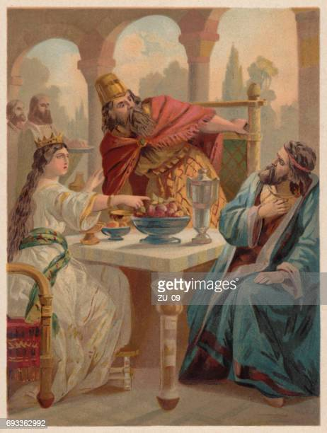 queen esther accuses haman before king ahasuerus, chromolithograph, published 1886 - queen royal person stock illustrations