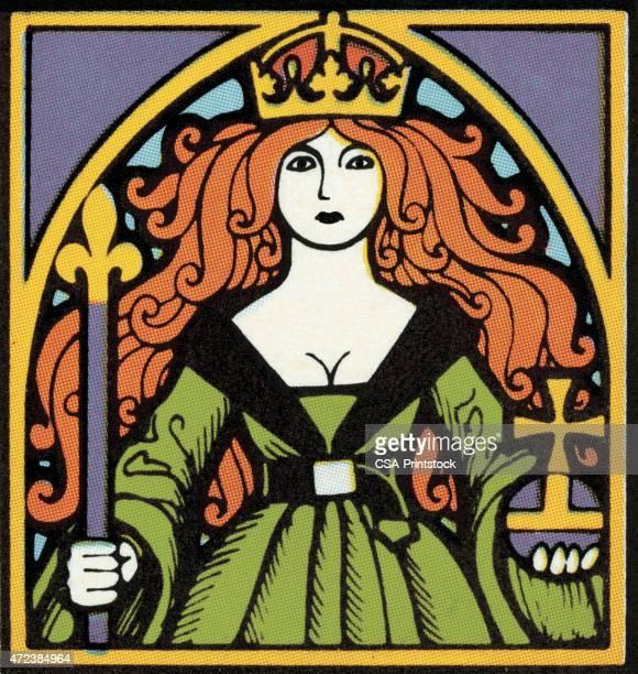 queen - scepter stock illustrations