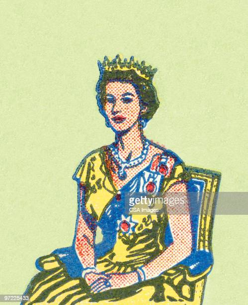 queen - queen royal person stock illustrations