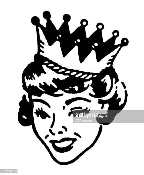 ilustraciones, imágenes clip art, dibujos animados e iconos de stock de queen - reina de belleza