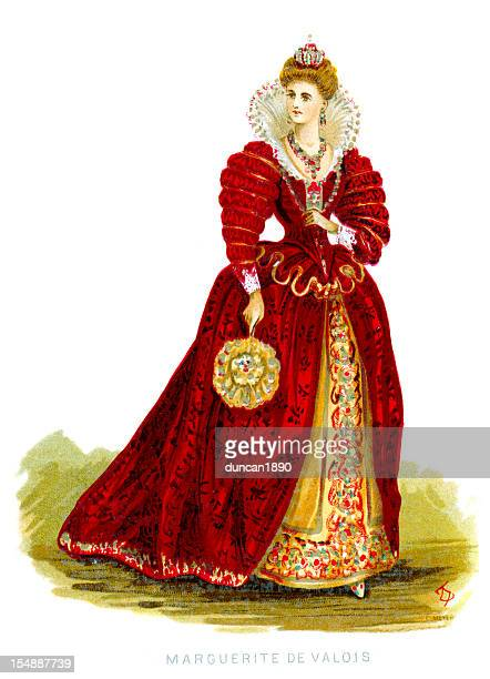 queen margaret of valois - 16th century style stock illustrations, clip art, cartoons, & icons