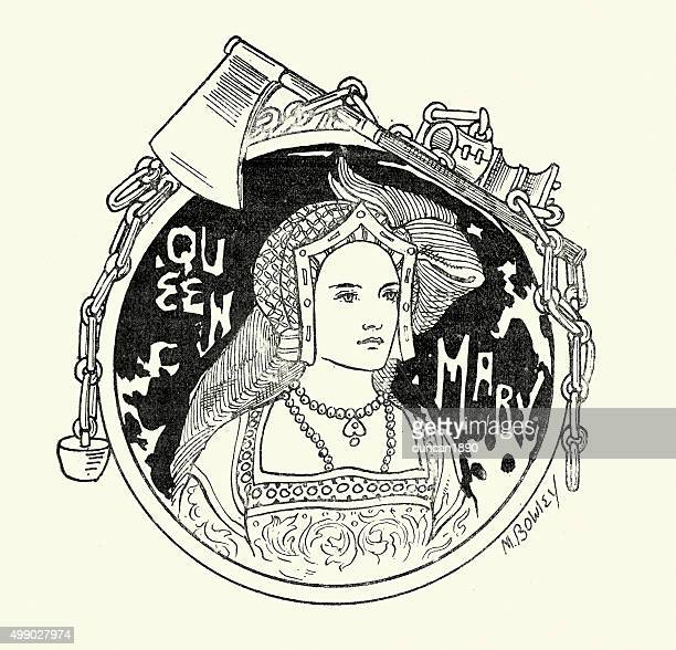 queen mary i of england - tudor stock illustrations