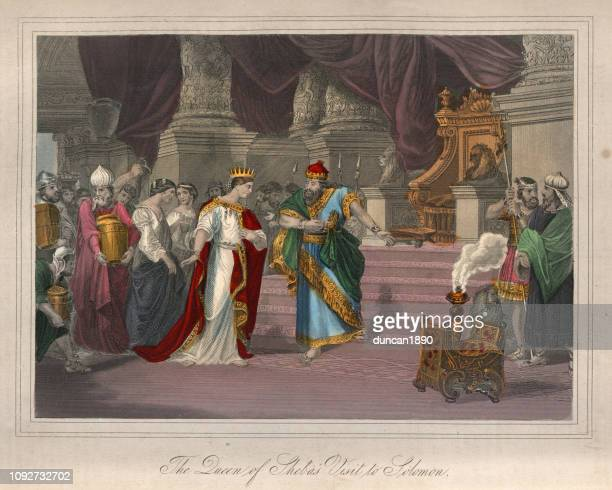 queen of sheba's visit to king solomon - queen royal person stock illustrations, clip art, cartoons, & icons