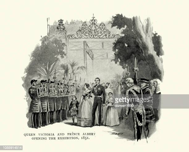 queen victoria and prince albert opening the great exhibition - great exhibition stock illustrations, clip art, cartoons, & icons