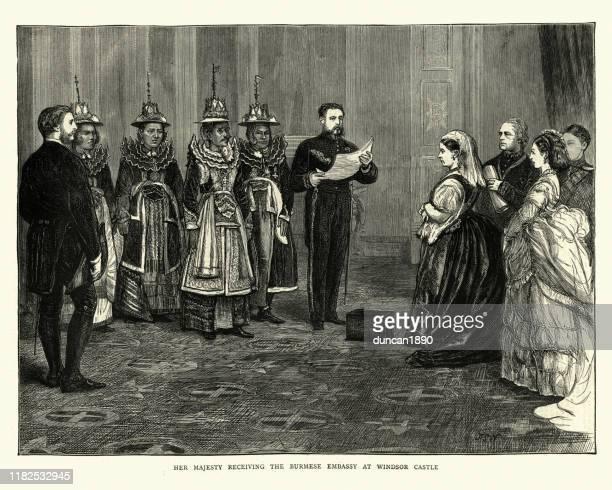 queen victoria meeting burmese embassy at windsor castle, 1872 - windsor castle stock illustrations