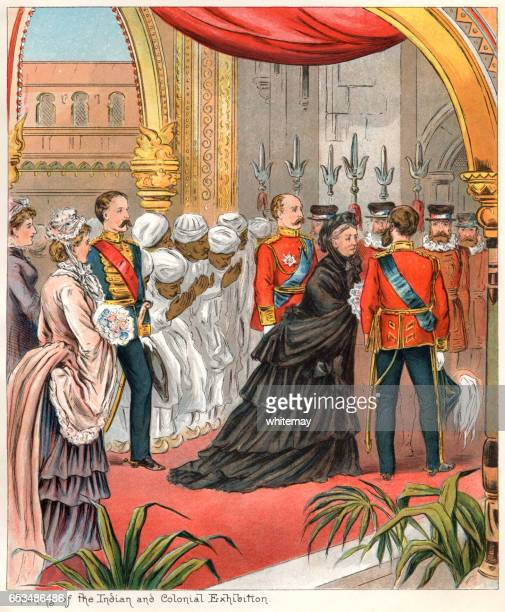 Queen Victoria opening the Indian and Colonial Exhibition in 1886