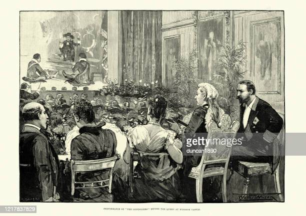 queen victoria watching a play, windsor castle, 19th century - windsor castle stock illustrations