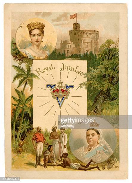 ilustrações, clipart, desenhos animados e ícones de queen victoria's golden jubilee-copo souvenir - 1887