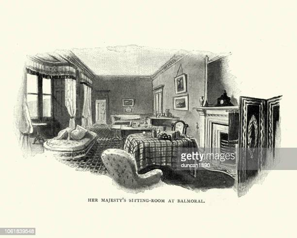 queen victoria's sitting room at balmoral - balmoral castle stock illustrations