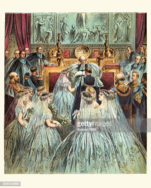queen victoria's wedding to prince albert - queen royal person stock illustrations, clip art, cartoons, & icons