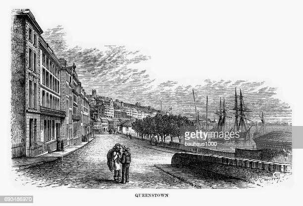 queenstown, cork, county cork, ireland victorian engraving, 1840 - cork city stock illustrations