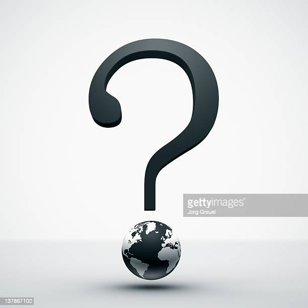 a question mark and a globe - uncertainty stock illustrations