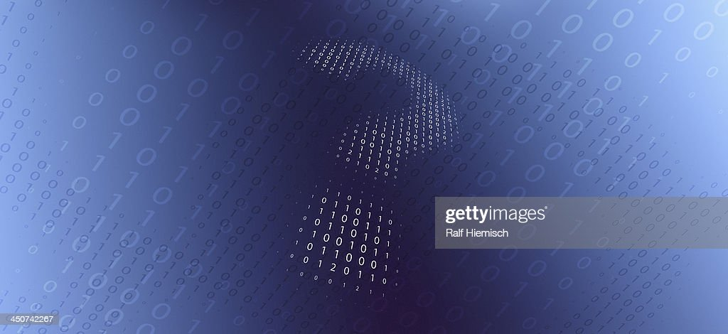 A question mark in binary code against a gradient background : Stock Illustration