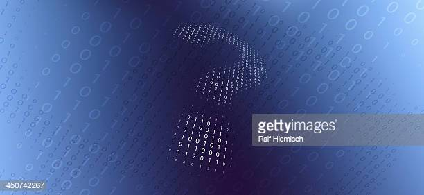 A question mark in binary code against a gradient background