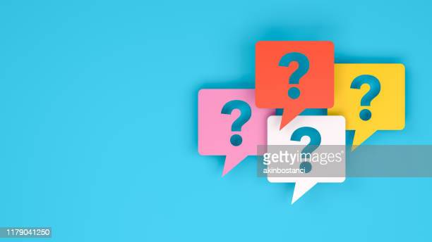 question mark on speech bubble - solutions stock illustrations