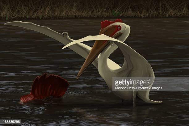 Quetzalcoatlus hunting for food in a prehistoric lake.