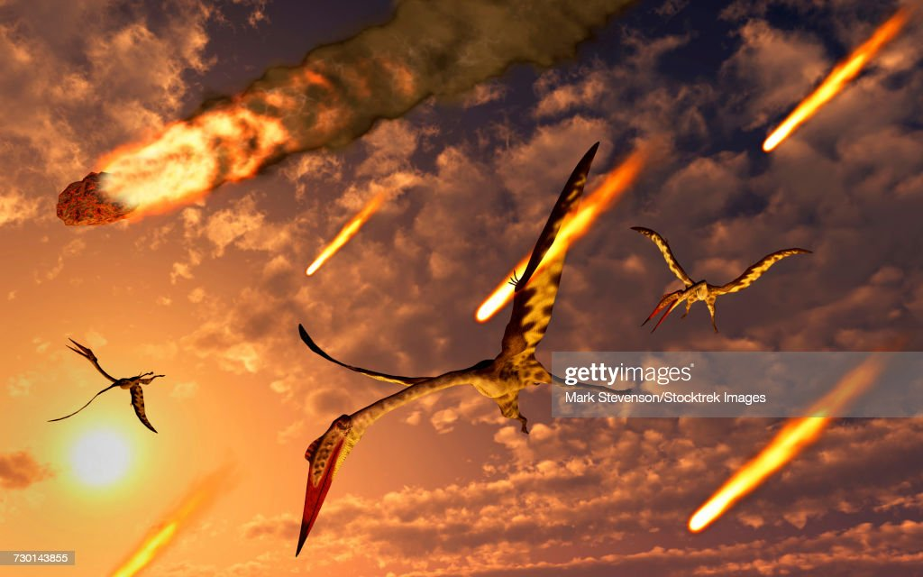 Quetzalcoatlus try to avoid meteorites during the Paleogene- Cretaceous extinction event. : stock illustration