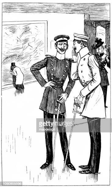 quiet conversation between two prussian officers in an art gallery - 1896 - between stock illustrations