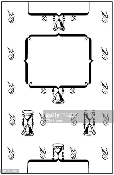 quill, paper and hourglass pattern - hourglass stock illustrations
