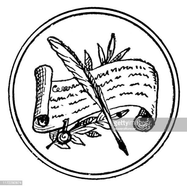 quill pen and scroll - 19th century - powerofforever stock illustrations