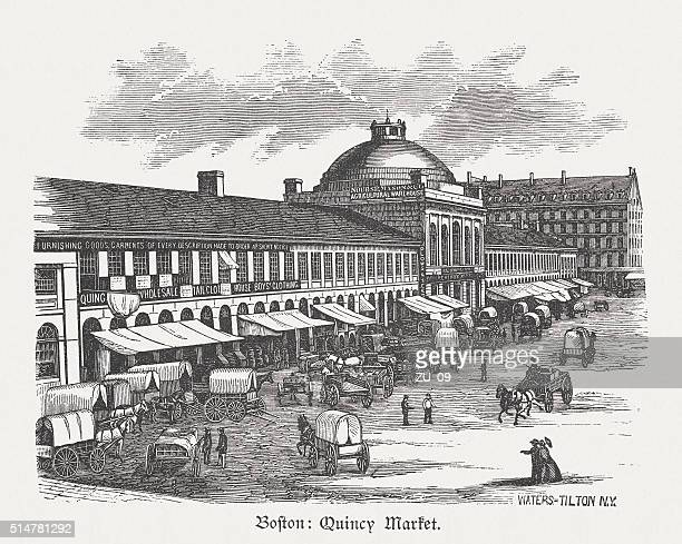 quincy market, boston, massachusetts, usa, wood engraving, published in 1880 - faneuil hall stock illustrations, clip art, cartoons, & icons