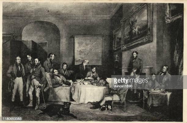 quorn hunt of melton mowbray having breakfast, 19th century - english culture stock illustrations