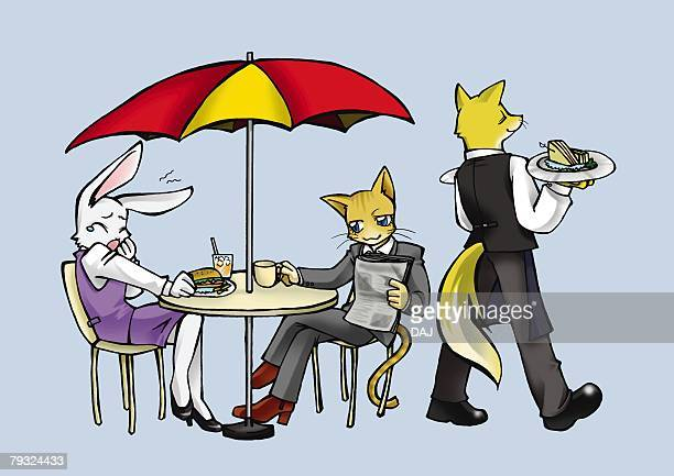 Rabbit, cat and fox in cafeteria, side view, rear view, blue background