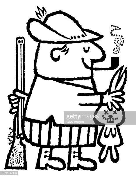 rabbit hunter with catch - 狩りをする点のイラスト素材/クリップアート素材/マンガ素材/アイコン素材