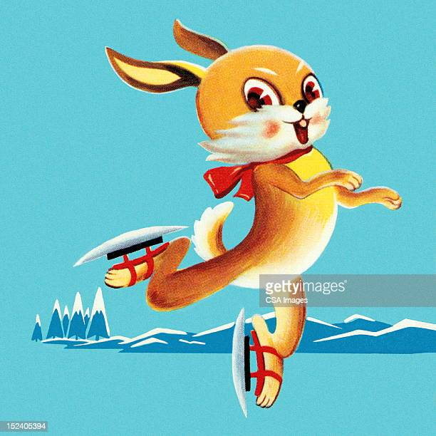 rabbit ice skating - ice skating stock illustrations